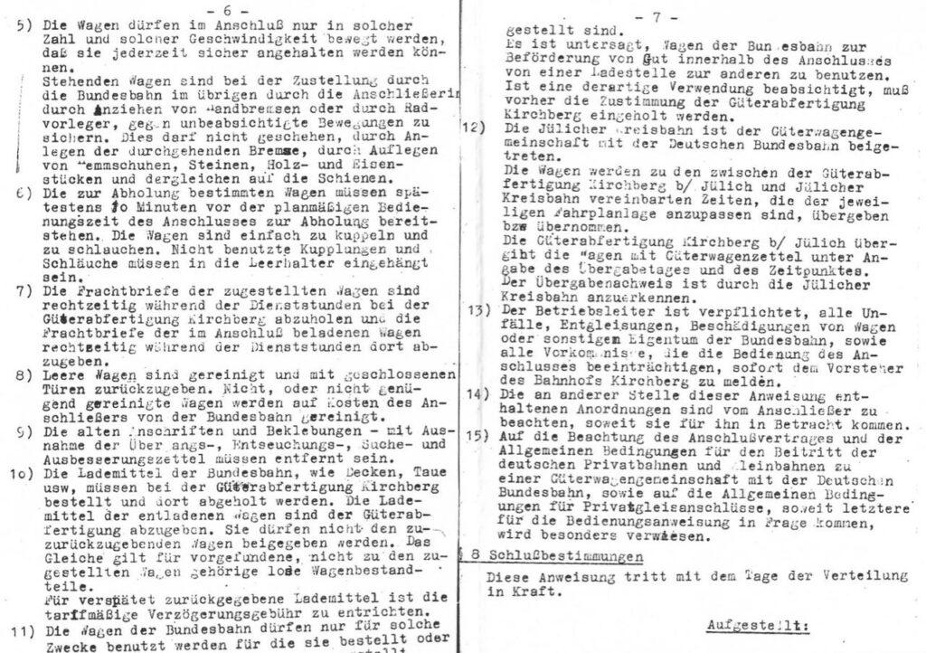 Gleisplan groß zur Bedienung Privatanschluss Seite 6-7